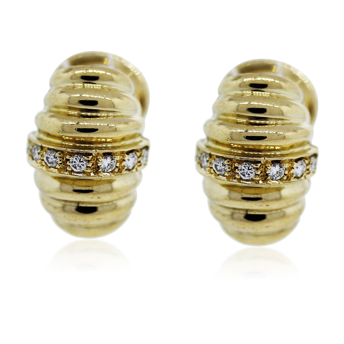 You are viewing these yellow gold and diamond ribbed huggies!