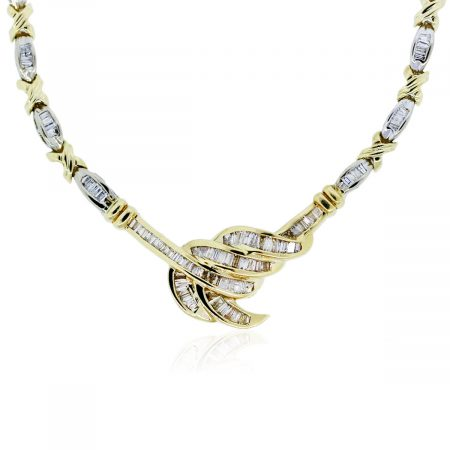 You are vieiwng this two tone baguette diamond necklace!