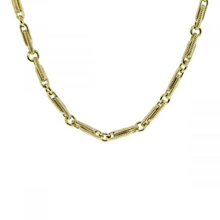 18kt Yellow Gold Fancy Link Chain Necklace full