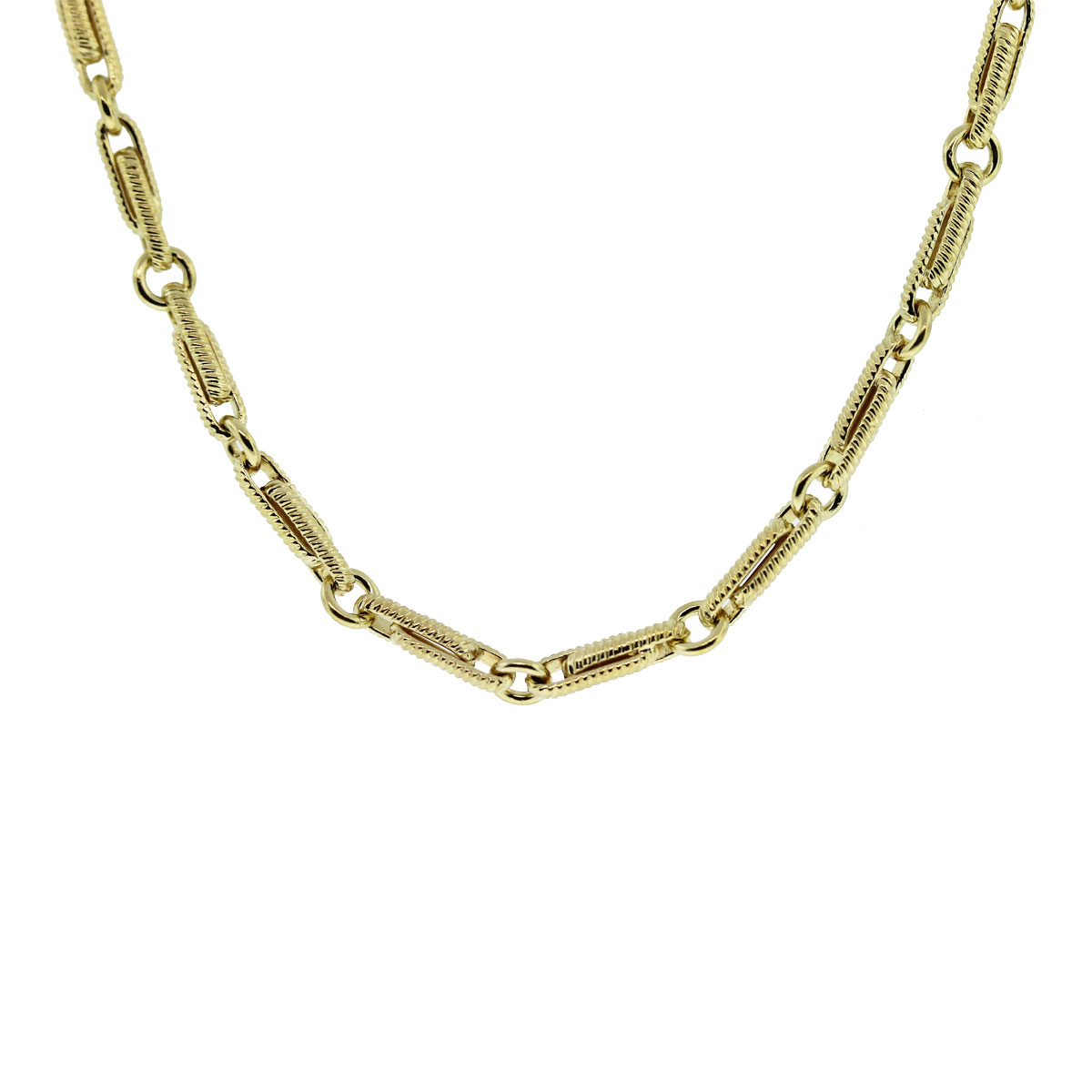 18kt Yellow Gold Fancy Link Chain Necklace
