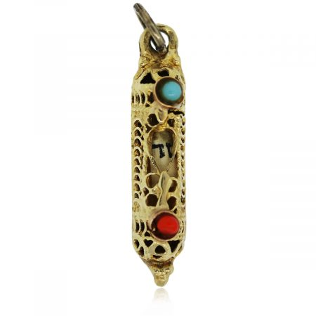 You are viewing this yellow gold coral and turquoise mezuzah pendant!