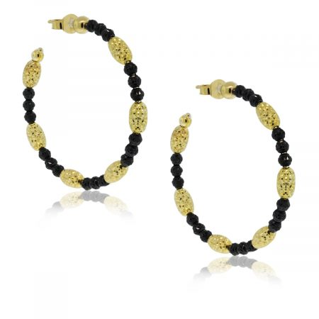 Officina Bernardi Black Rhodium & Yellow Gold Overlay Hoop Earrings