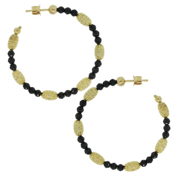 Officina Bernardi Black Rhodium & Yellow Gold Overlay Hoop Earrings side