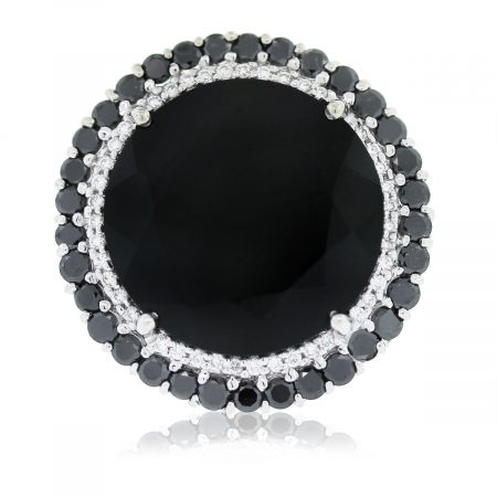 18kt White Gold Black & White Diamond Onyx Ring
