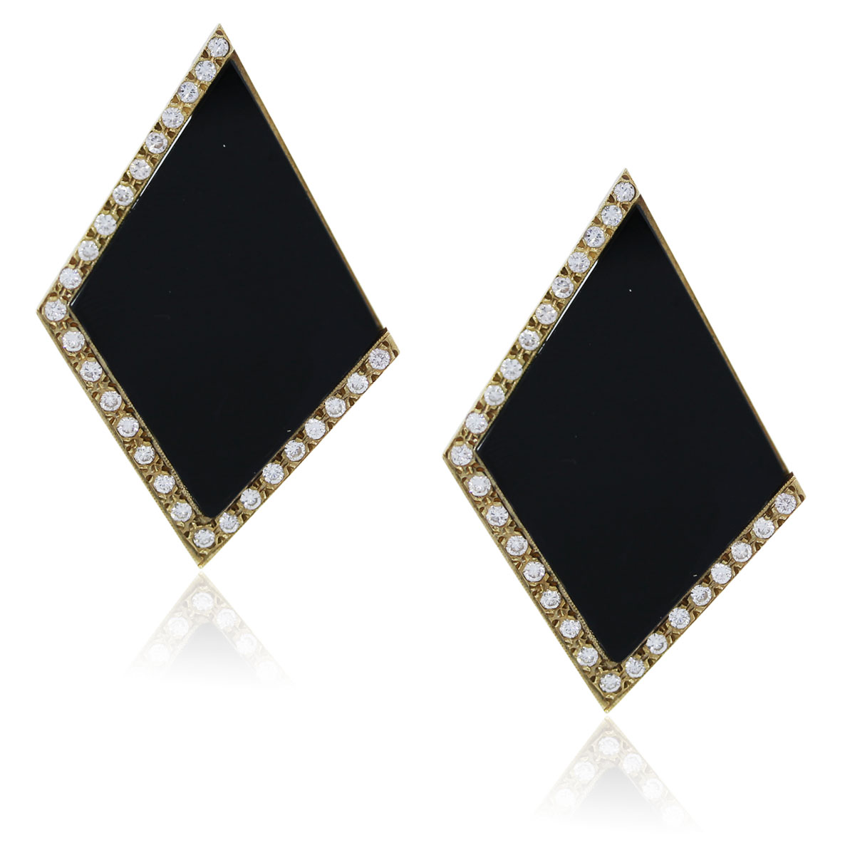 You are viewing these Yellow Gold Diamond and Onyx Earrings!