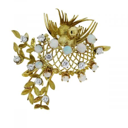 You are viewing this Yellow Gold Diamond and Opal Pin!