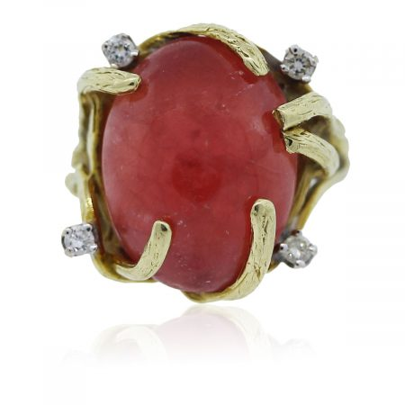 You are viewing this yellow gold ruby and diamond ring!
