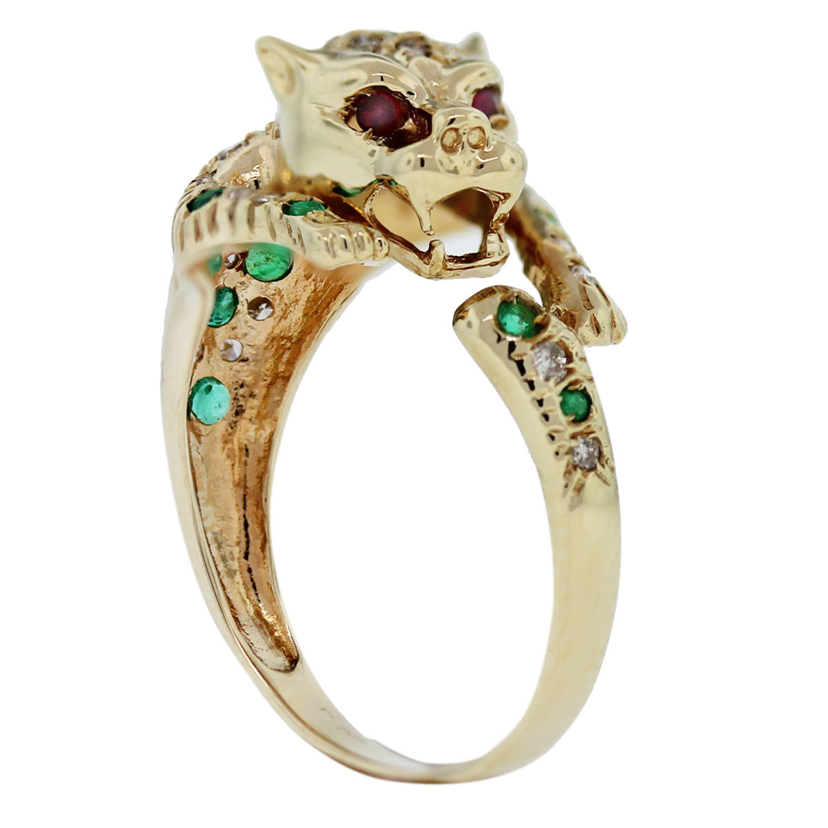 14kt Gold Diamond, Emerald & Ruby Eye Panther Ring
