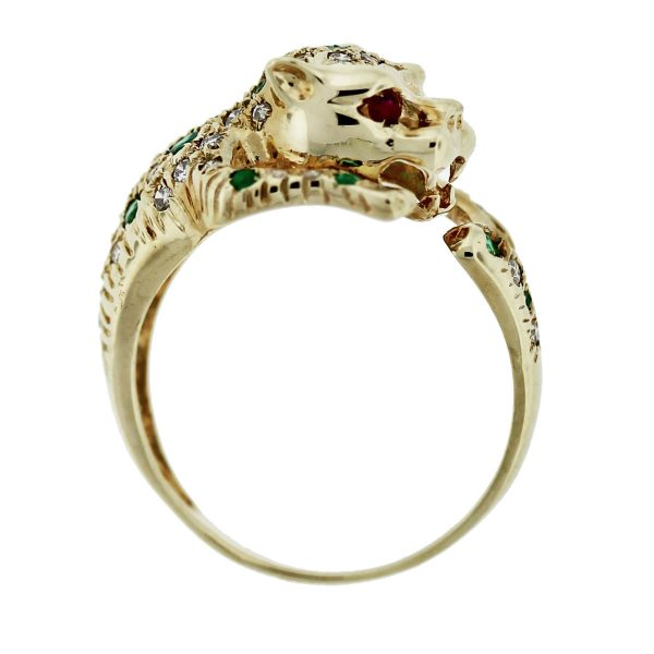 14kt Gold Diamond, Emerald & Ruby Eyes Panther Ring