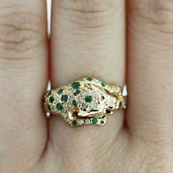 14kt Gold Diamond, Emerald & Ruby Eye Panther Ring on finger