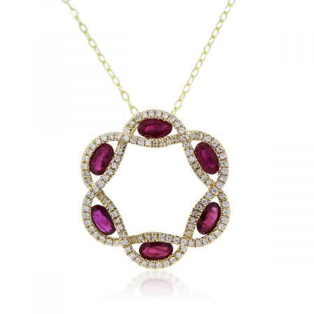 You are viewing this yellow gold diamond and ruby pendant!!