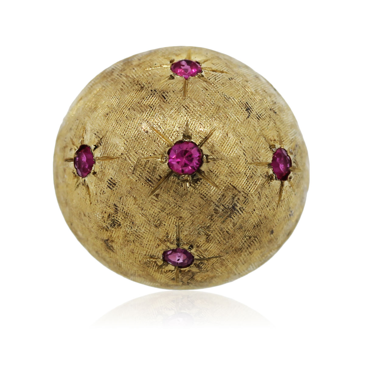 You are viewing this Yellow Gold Dome Ring with Rubies!