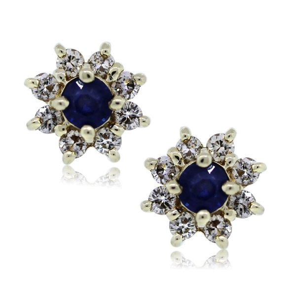 You are Viewing these Gorgeous Sapphire and Diamond Stud Earrings!