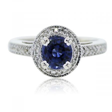 You are viewing this white gold diamond and sapphire ring!!