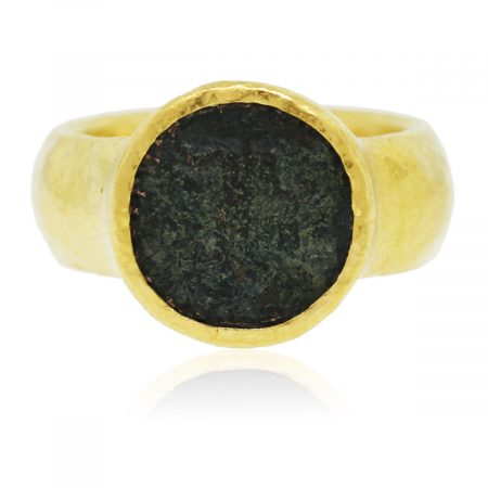 You are viewing this Yellow Gold Artisanal Greek Coin Ring!