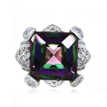 You are Viewing this Gorgeous Synthetic Alexandrite and Diamond Ring!