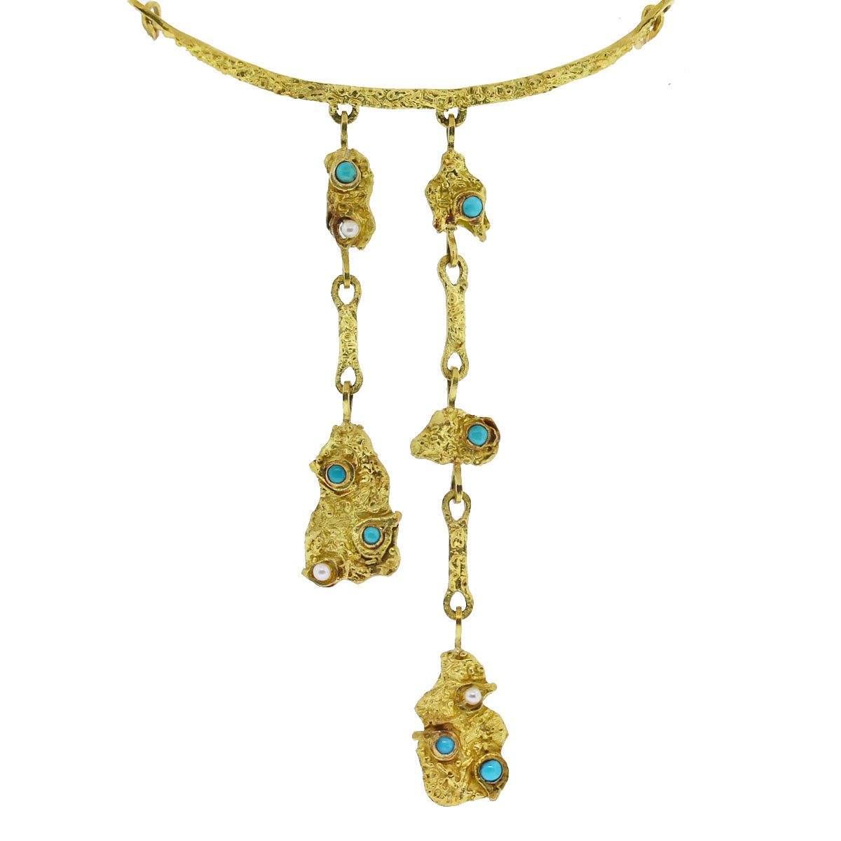 18kt Yellow Gold Turquoise & Pearl Egyptian Style Dangle Necklace