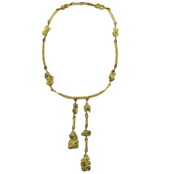 18kt Yellow Gold Turquoise & Pearl Egyptian Style Dangle Necklace full