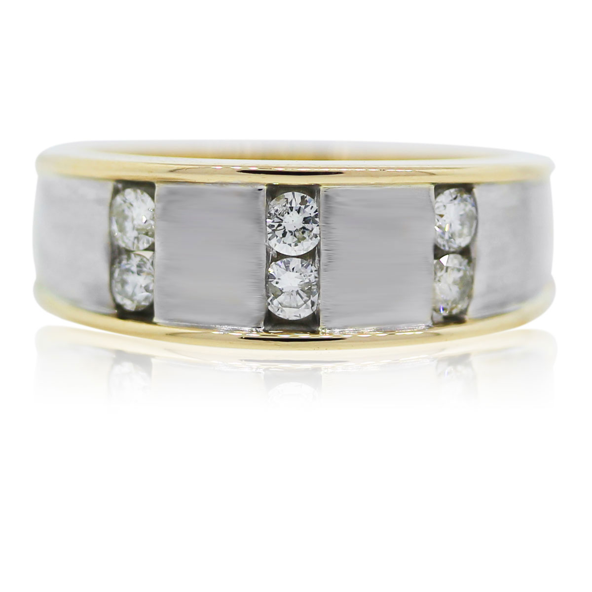 You are viewing this 14k two tone mens diamond ring!