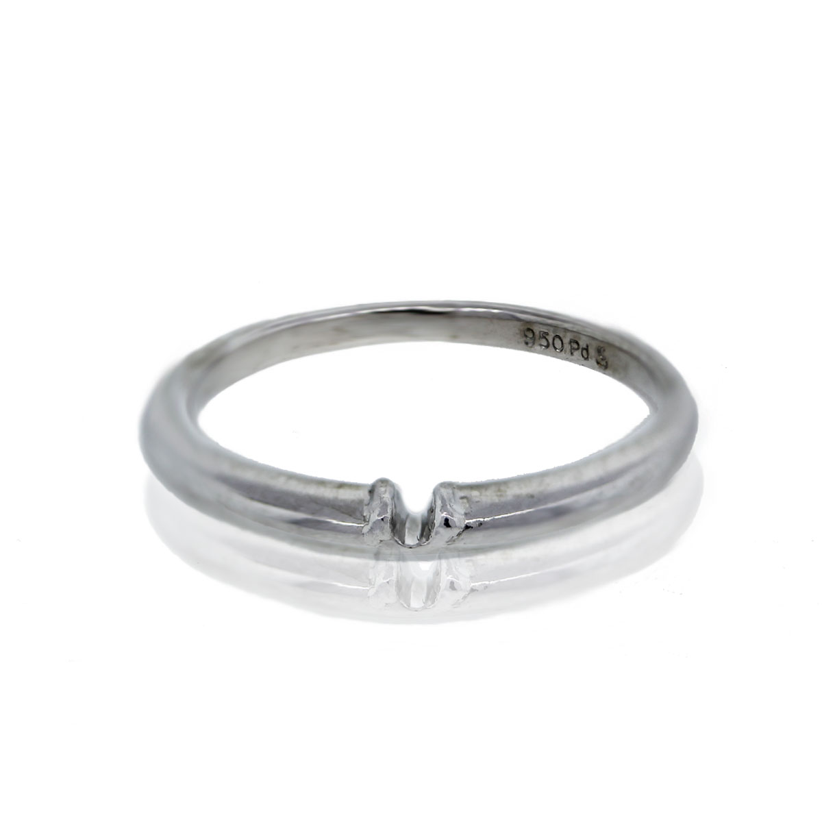 14k White Gold Notched Wedding Band Ring