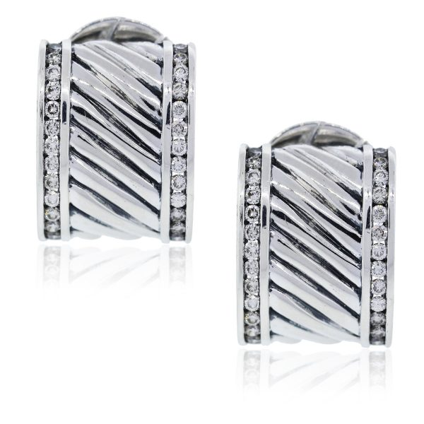 You are viewing these David Yurman Diamond Cigar Earrings!