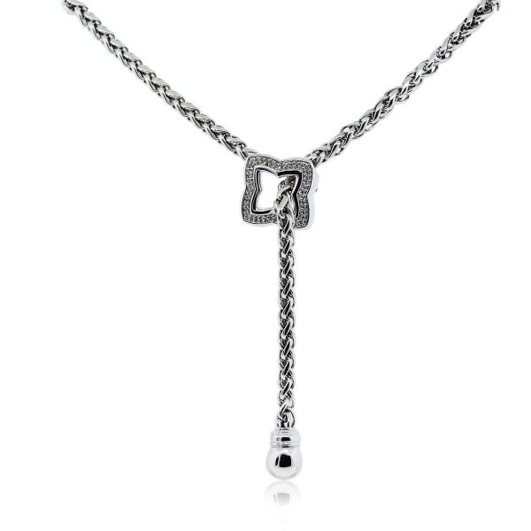 You are viewing this David Yurman SS Diamond Quatrefoil Lariat Necklace!