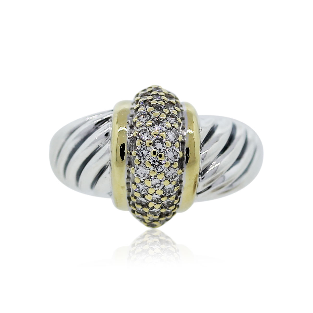 You are viewing this David Yurman two tone diamond ring!