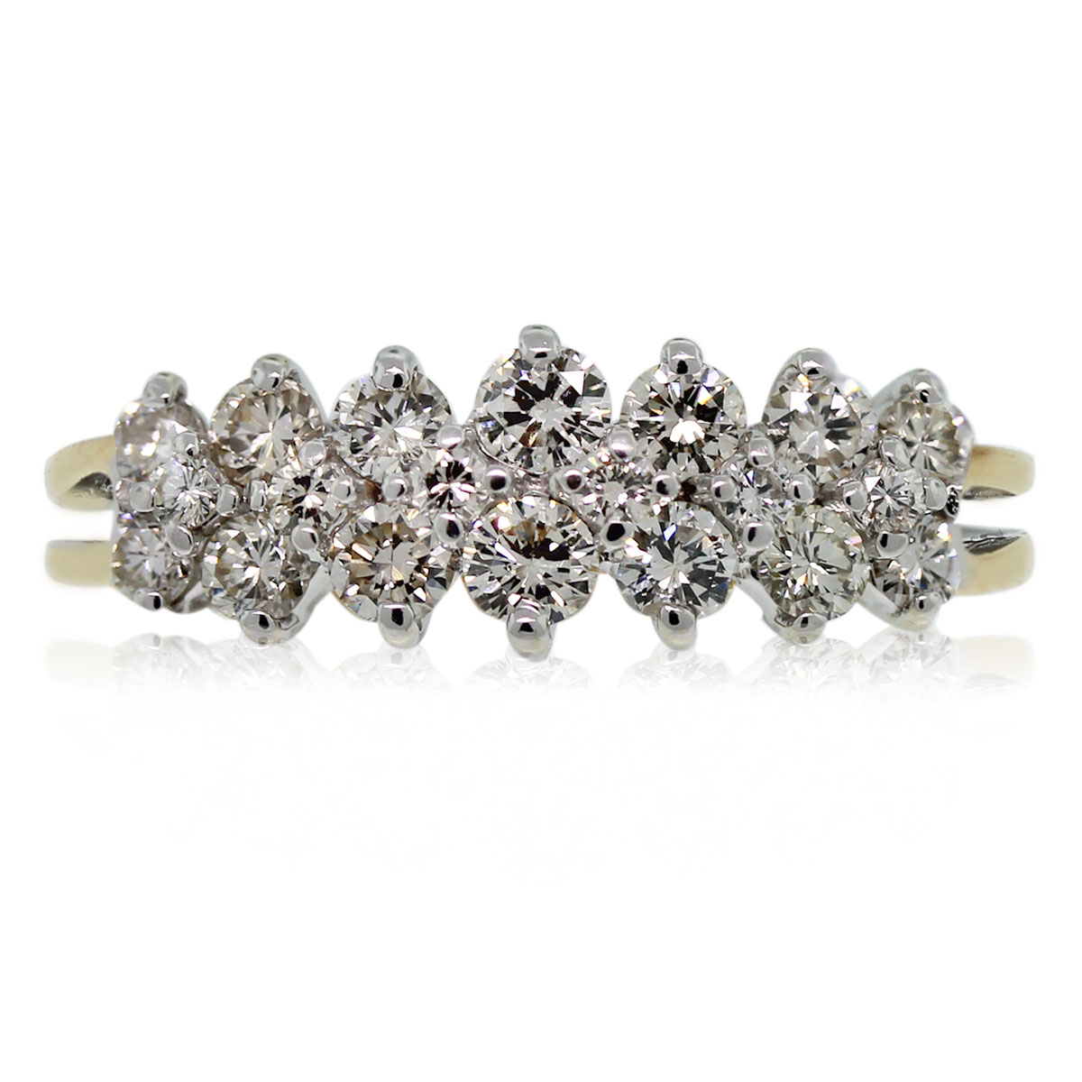 This 14kt Two Tone Diamond Cluster Ring is beautiful!