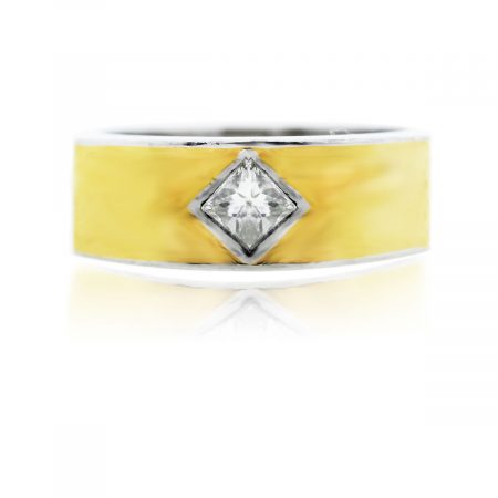 You are viewing this Platinum, Yellow Gold Inlay and Diamond Ring!
