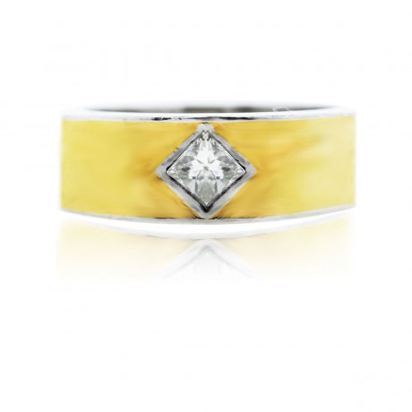 Platinum With 18k Yellow Gold Inlay And Diamond Mens Ring