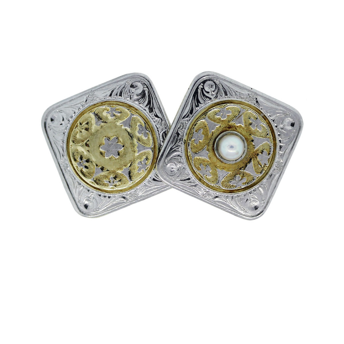 14k Two Tone and Pearl Cufflinks
