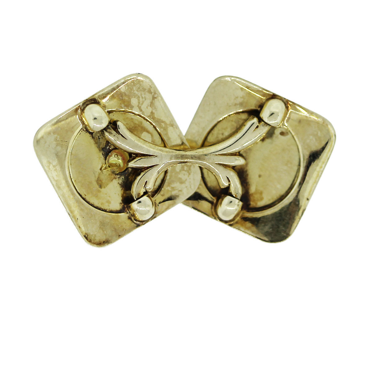 14k Yellow Gold and Platinum With Pearl Mens Cufflinks