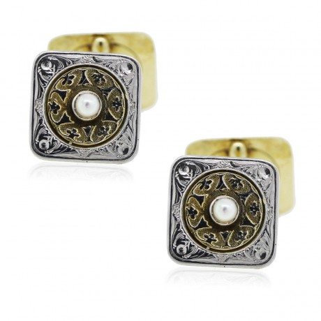 14k Two Tone and Pearl Mens Cufflinks