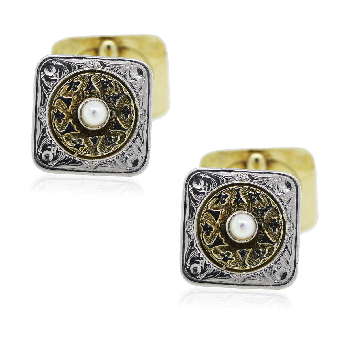 You are viewing these 14k Two Tone and Pearl Mens Cufflinks!