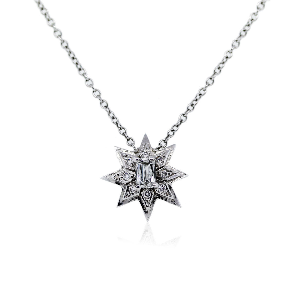 You are viewing this 18k White Gold Diamond Baguette Cut Star Necklace!