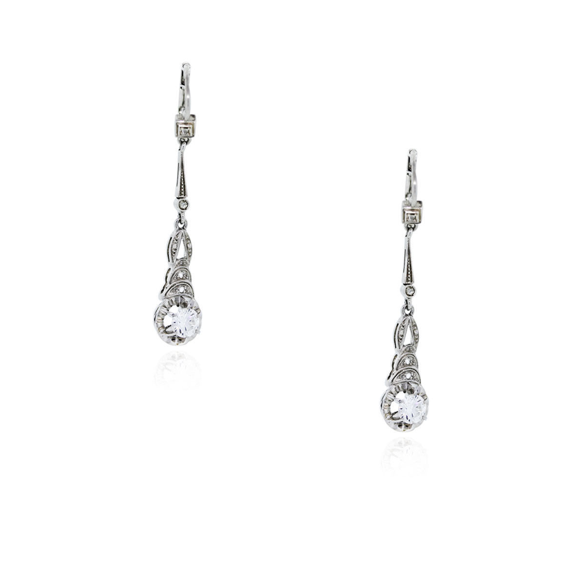 You are viewing these 18k White Gold With Diamonds Drop Dangle Earrings!