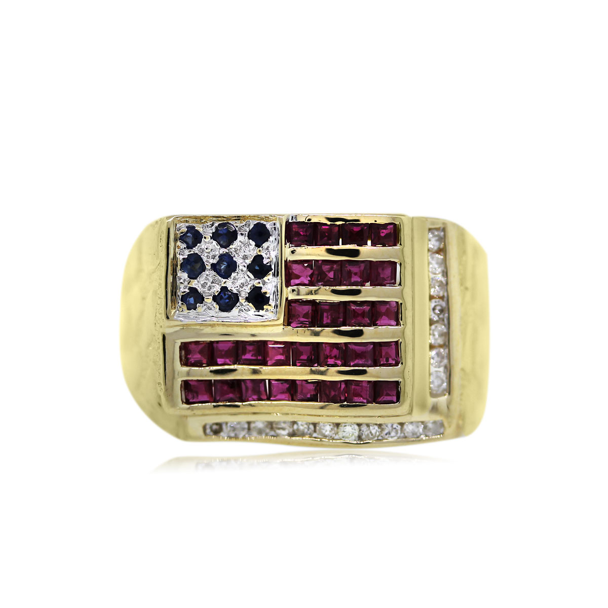 You are Viewing this Sapphire, Ruby and Diamond American Flag Ring!