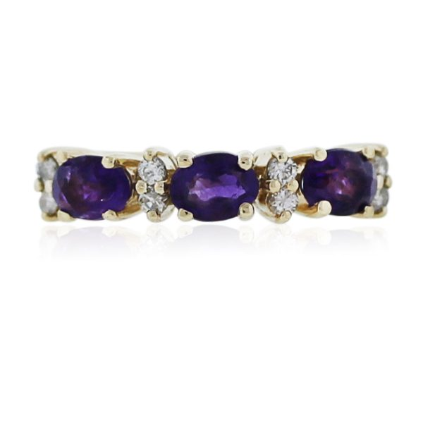 You are vieiwng this Yellow Gold Amethyst and Diamond Ring!