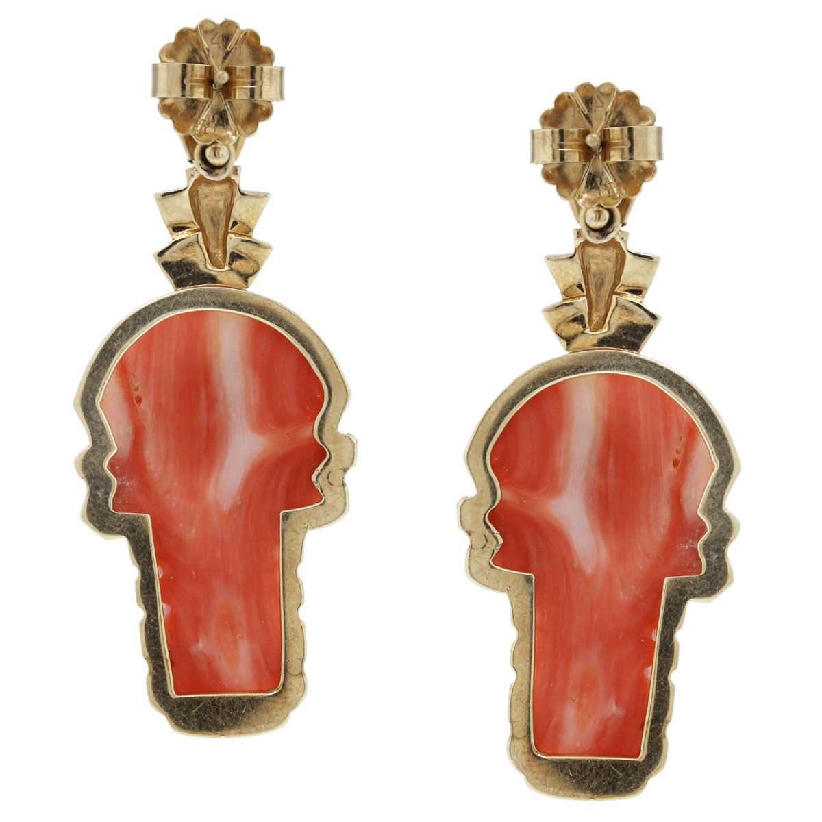 These 14kt Yellow Gold Carved Coral Aztec Dangle Earrings are beautiful!