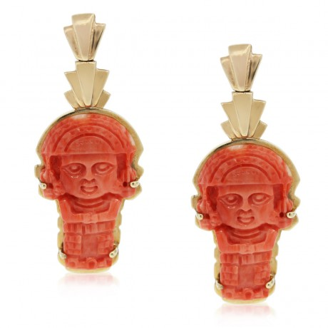 14kt Yellow Gold Carved Coral Aztec Dangle Earrings
