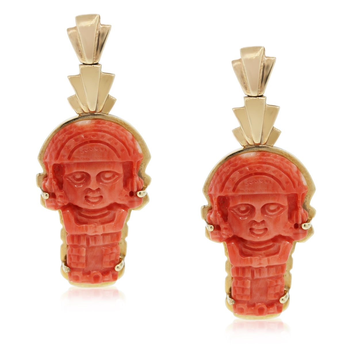 Check out these 14kt Yellow Gold Carved Coral Aztec Dangle Earrings!!