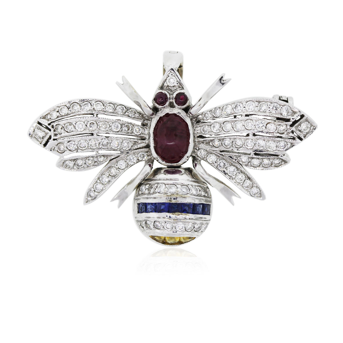 You are viewing this 18k White Gold and Diamonds With Precious Stones Bee Pin!