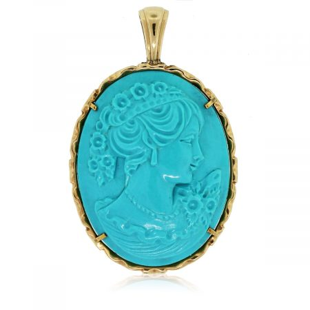 Check out this 14kt Yellow Gold Simulated Turquoise Cameo Pendant