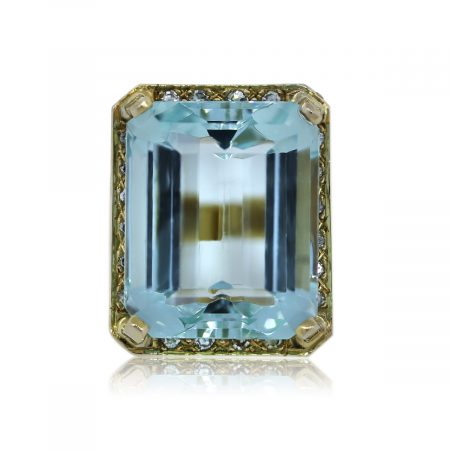 You are viewing this Yellow Gold Diamond and Aquamarine Ring!