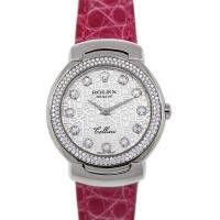 Rolex Cellini 18k White Gold Diamond Watch on Pink Leather