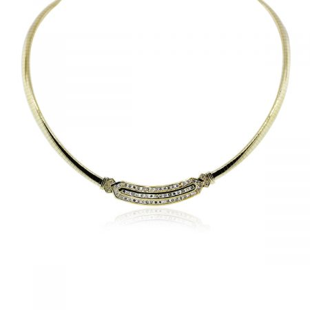 You are viewing this 14k Yellow Gold Channel Set Omega Necklace!