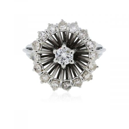 You are viewing this 18k White Gold and Diamond Round Cocktail Ring!