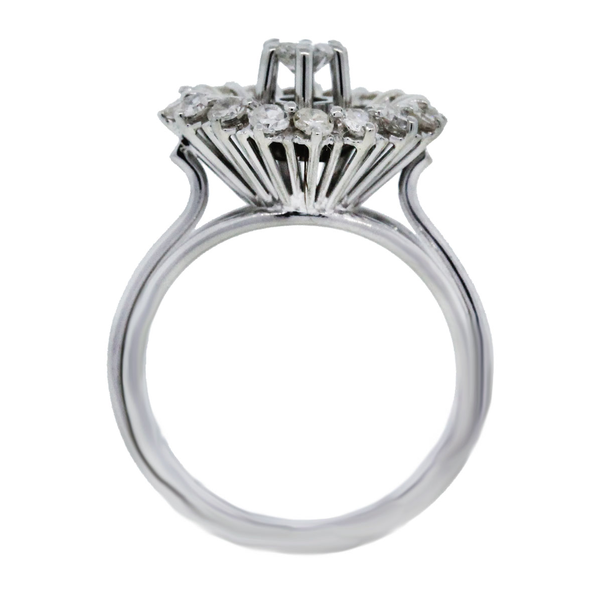 White Gold and Diamond Round Cocktail Ring