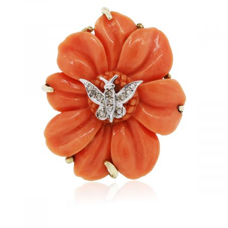 You are viewing this Vintage 14k Yellow Gold and Coral with Diamonds Cocktail Ring!