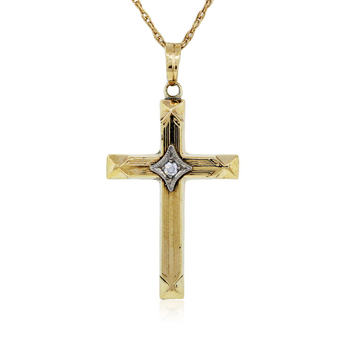 You are viewing this Yellow Gold Diamond Cross Pendant Necklace!